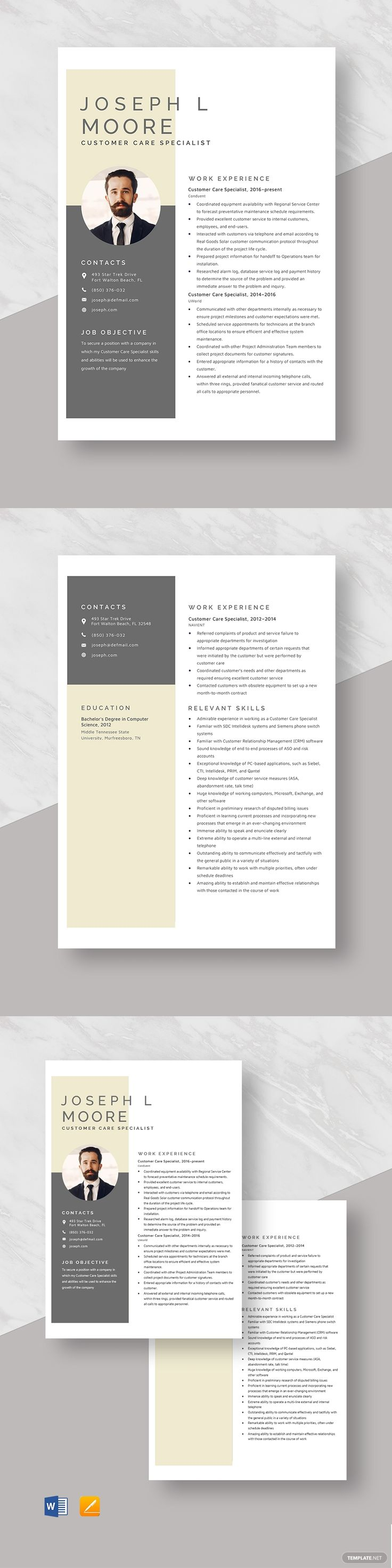 Customer Care Specialist Resume Template in 2020 Resume