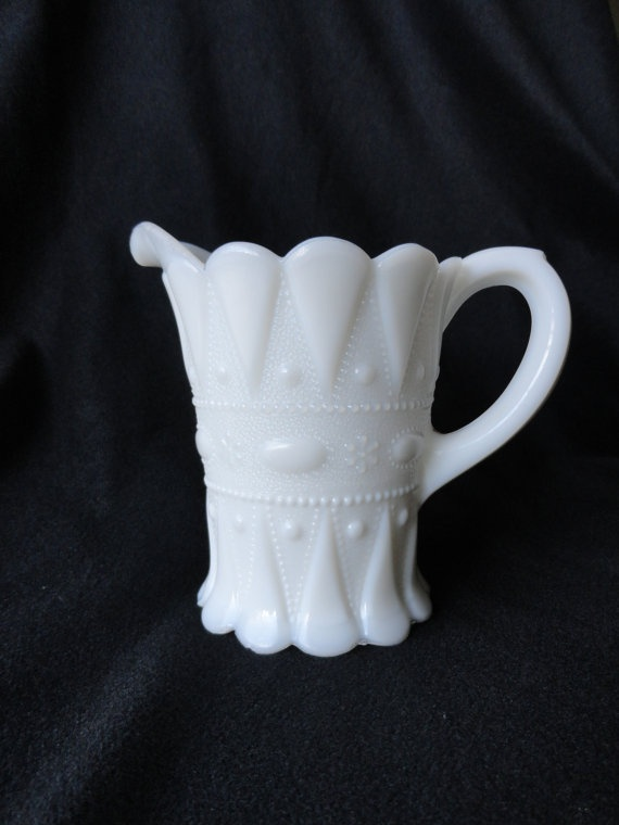 Vintage Milk Glass pitcher Beautiful 475 by PeacePinesStudio,
