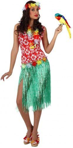 Costume Hawaiana adulto: si tratta di un travestimento comprendente una maglia, una gonna, una corona e una cinutra. La maglia presenta la tipica fantasia di fiori di ibiscus bianchi su forndo rosso, la gonna è realizzata con lunghi fili di paglia verdi. Infine, grazie ai coloratissimi accessori, potrai completare il tuo look da ballerina di hula con un allegro tocco arcobaleno!