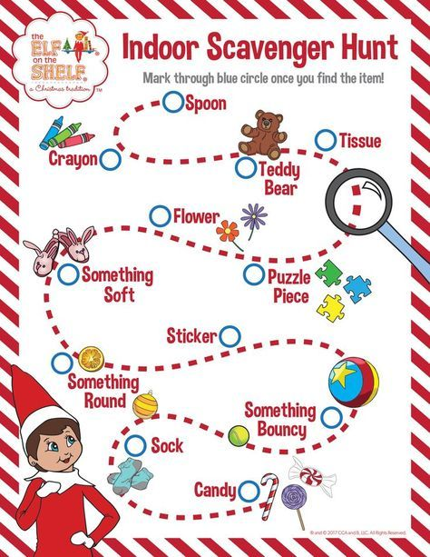 Indoor Scavenger Hunt for kids! See how many items you can find around your home or, if you want ...