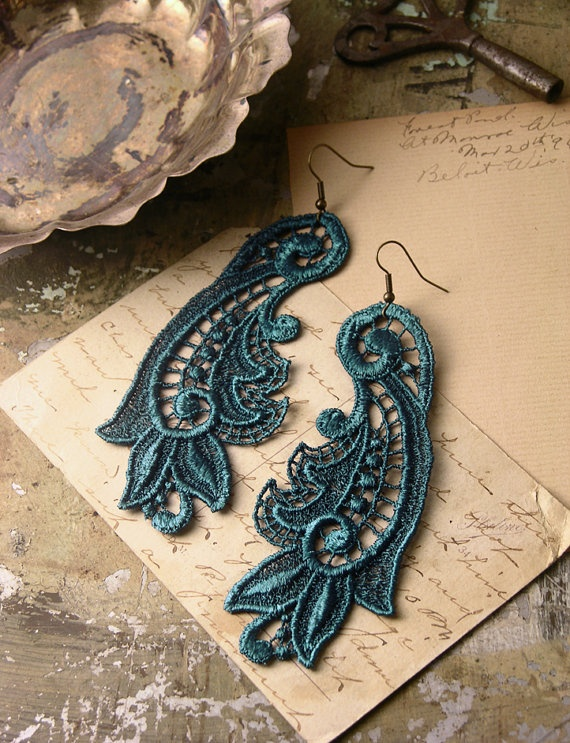lace earrings CALLISTA deep teal by whiteowl on Etsy, $22.00