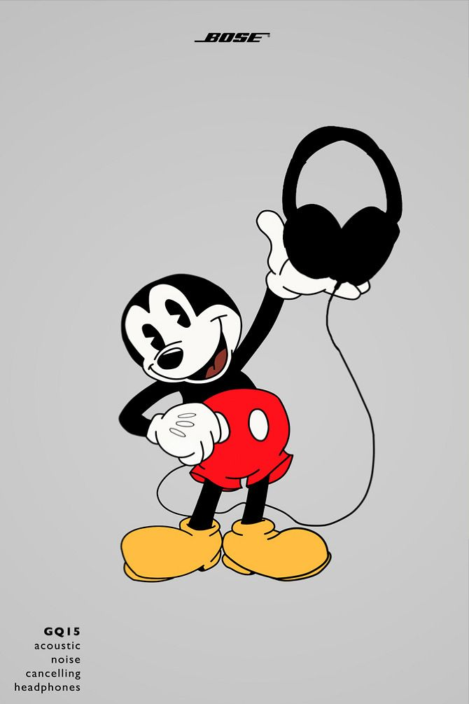Mickey Mouse - BOSE Headphones ad