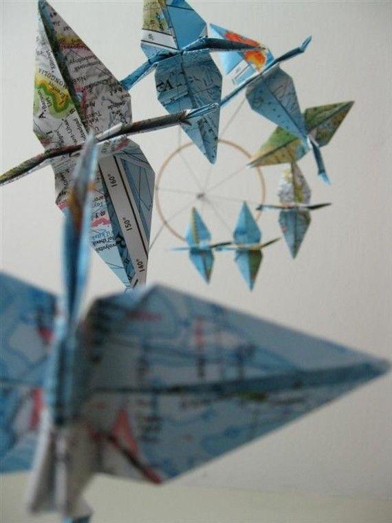 SALE / Children Decor Origami Crane Mobile - Baby Mobile - Eco Friendly - Art World Map Atlas Teacher Home Unique Repurposed Blue