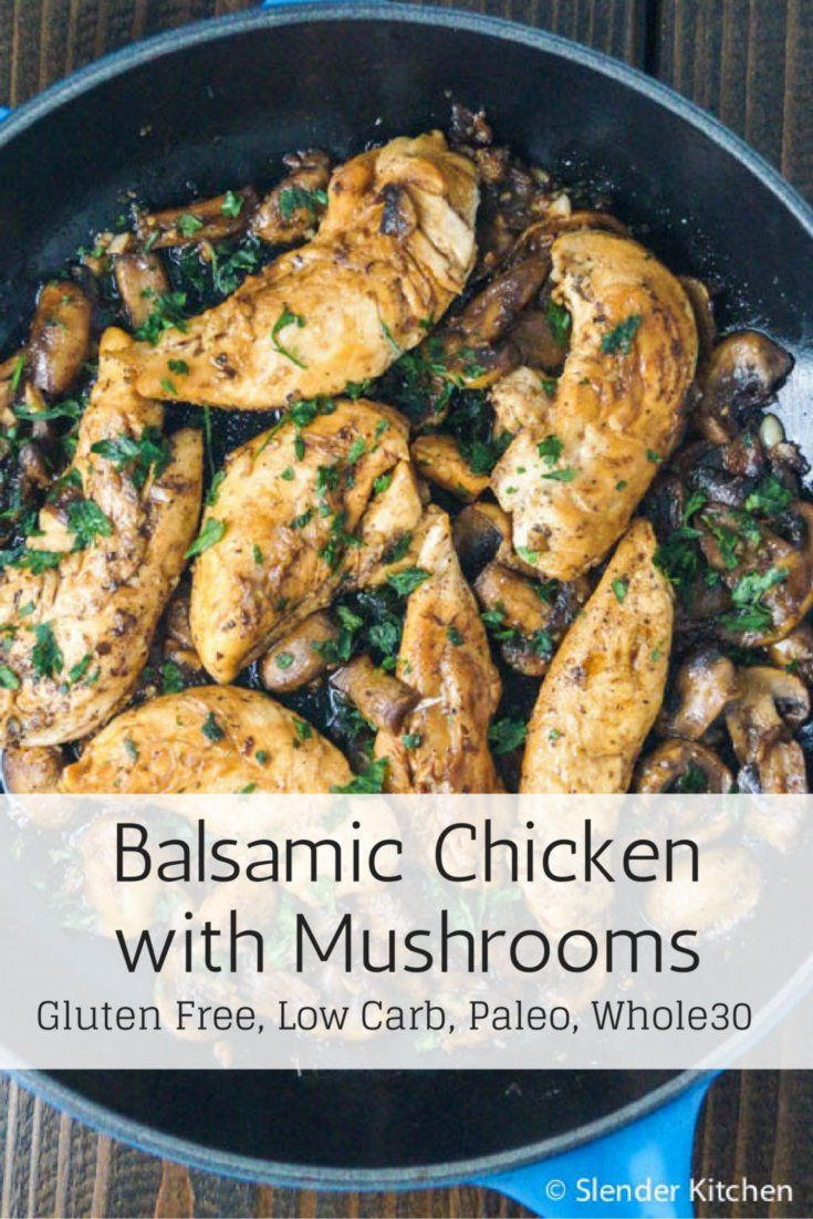 Balsamic chicken with mushrooms and thyme recipe | This dish is quickly becoming one of my favorites. Golden brown chicken breasts, earthy mushrooms, a slightly sweet and tangy balsamic vinegar thyme sauce, and a sprinkling of fresh parsley. Yum. As an added bonus it feels like a restaurant style dish and comes together in under 25 minutes.