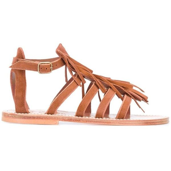 K. Jacques Fringed Sandals (€155) ❤ liked on Polyvore featuring shoes, sandals, brown shoes, brown sandals, k. jacques shoes, brown fringe sandals and suede fringe shoes