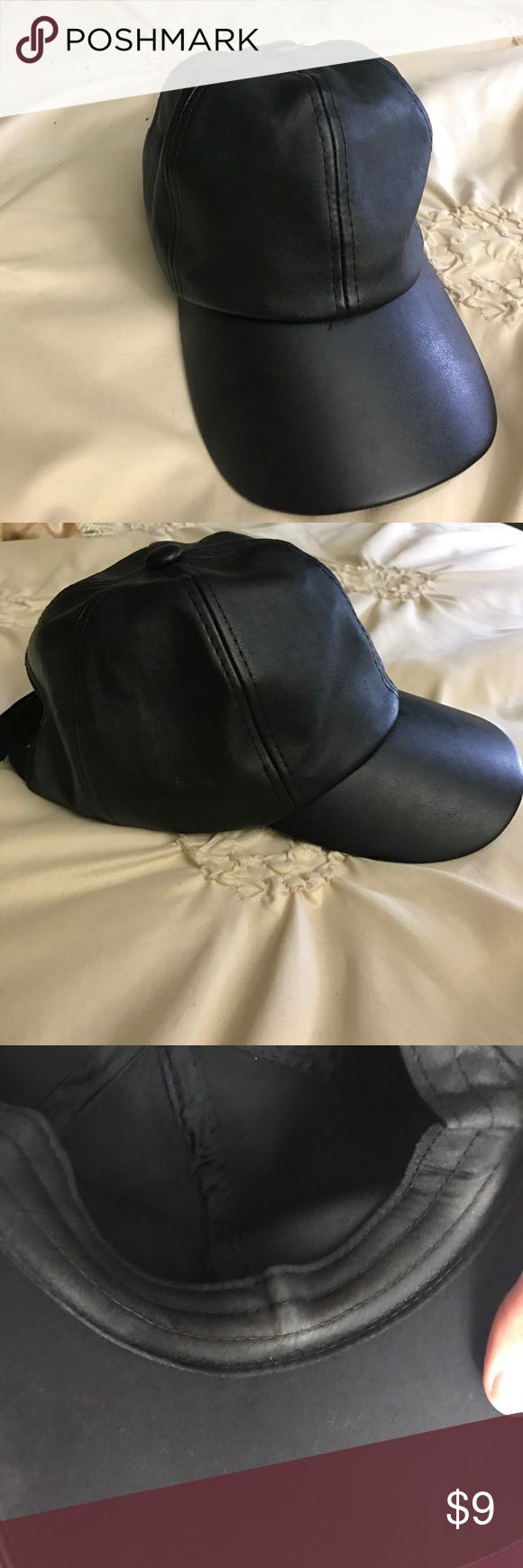 Black leather baseball cap Faux leather baseball cap. Worn once or twice, make up on the inside rim. Does not affect wear. ❌NO TRADES❌ Fashion Nova Accessories Hats