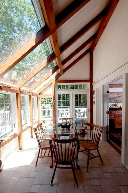 Post & Beam Breakfast/Dining Room by Yankee Barn Homes