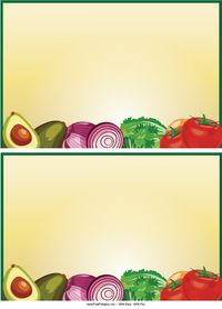 This printable recipe card features an array of fresh vegetables. Great for vegetarian recipes.