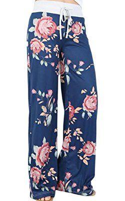 Angashion Damen Blumenmuster Weite Bein Lange Hose   Alles für den ... 383d3efe04