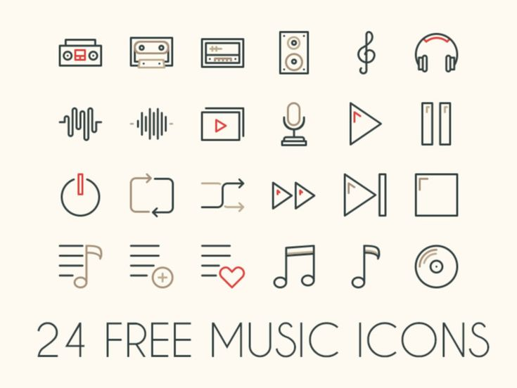 24 Free Music Icons : Vector and PSD | Pixlov