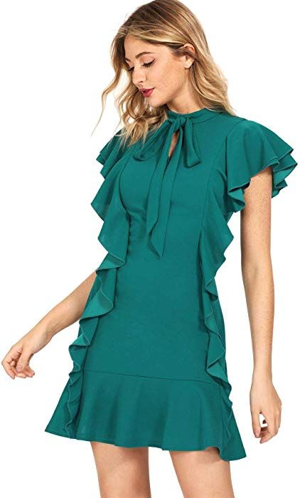 5b41c13aa03 Floerns Women's Tie Neck Ruffle Hem Short Cocktail Party Dress Green at  Amazon Women's Clothing store #buyonline #shopping #modefemme #tendance  #trends