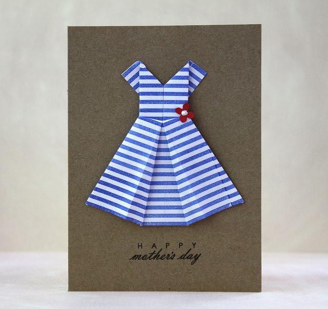 Отправить, открытка для мамы оригами платье