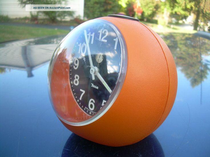 Mid Century Eames Era Modern Bright Orange Alarm Clock Sphere Insa ...