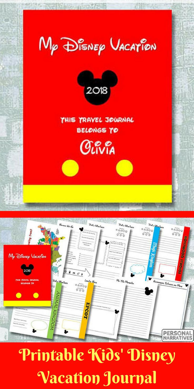 Family vacations are magical - especially if you are spending it at Walt Disney World! Have your children keep a record of their vacation memories in this printable Disney-themed journal. #ad #printable #etsy #travel #disney #journal #kidsjournal