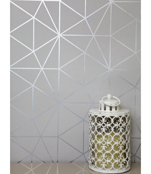 This Metro Prism Geometric Triangle Wallpaper in Grey and Silver features stylish metallic elements. Part of the World of Wallpaper Metro Collection. Free UK delivery available.