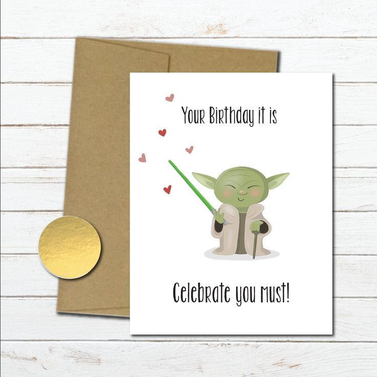 Star wars birthday card funny husband, boyfriend, Star wars gift for him, yoda birthday gift best friend, brother, disney bday card for her