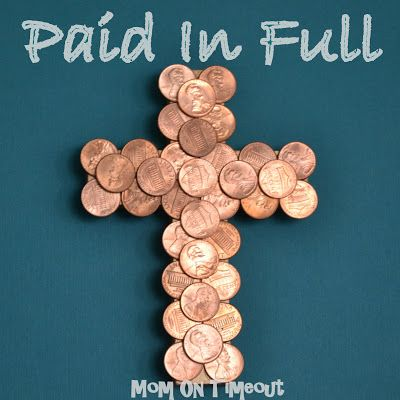 """Wooden crosses are covered in coins – """"Paid In Full"""" Easter Craft. Easter is less than three weeks away and the boys are getting so excited as I take out Easter baskets, plastic eggs, and other fun decorations. Easter crafts are so much fun and I love to involve Reece and Bryce in making our …"""