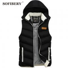 [ 30% OFF ] Sofibery Men's Down Coats Men Sleeveless Jacket Winter Casual Down Vest Cotton-Padded Slim Men's Vest Thickening Waistcoat