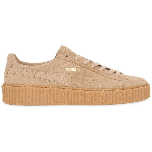 Puma Select Men Rihanna Suede Creepers ($180) ❤ liked on Polyvore featuring men's fashion, men's shoes, oatmel, mens creeper shoes, mens shoes, puma mens shoes and mens suede shoes