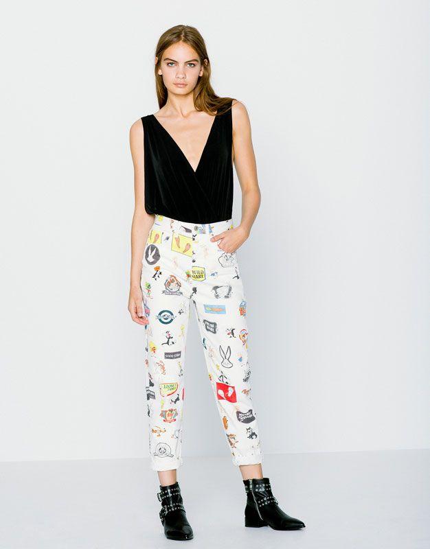 Pull&Bear - dames - nieuwigheden - mom fit jeans looney toons - gebroken wit - 09683311-I2016