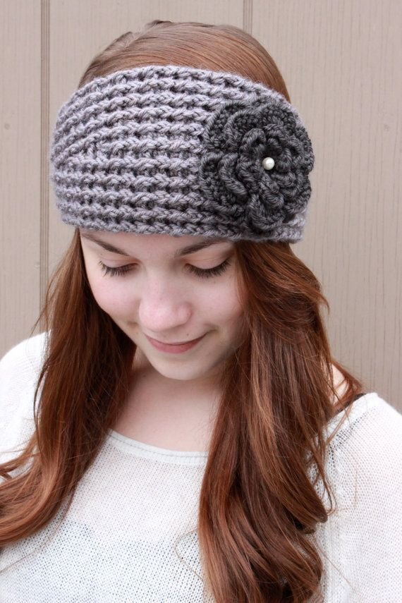 Crochet Wide Headband With Flower Free Pattern : Gray womens Crochet Headband/ Crochet Flower Headband ...