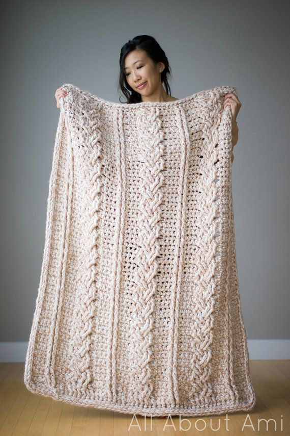 PDF PATTERN: Chunky Braided Cabled Blanket Crochet Pattern  - - - - - - - - - - - - - - - - - - - - - - - - - - - - - - - - - - - - - - - - - - - - - - - - Crochet this incredibly luxurious Chunky Braided Cabled Blanket! The blanket works up quickly since it uses jumbo yarn and a very large crochet hook! It helps keep you warm and is such a lovely piece to display in your home! The pattern is written in US crochet terminology and the finished dimensions are 42/107 cm x 53/135 cm. Th...