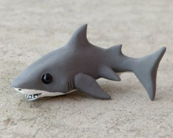 Tiny great white shark - Handmade miniature polymer clay animal figure