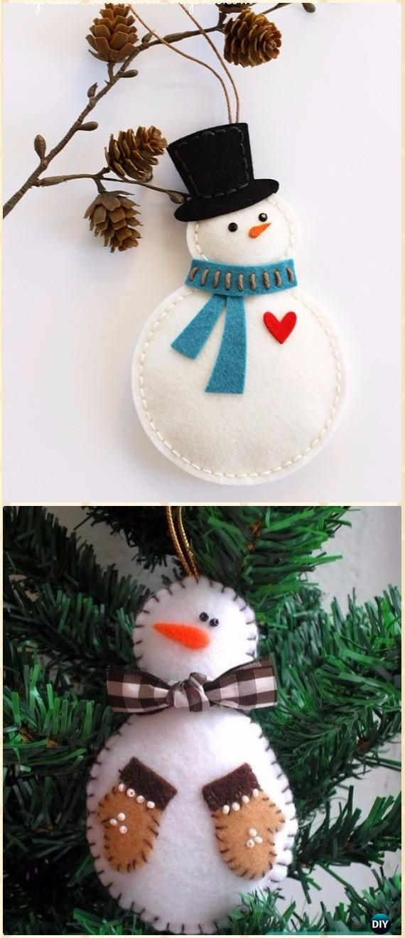 DIY Felt Snowman Ornament Instructions - DIY Felt Christmas Ornament Craft Projects [Picture Instructions]