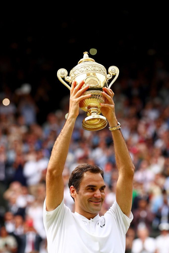Roger Federer wins a record breaking 8th Wimbledon title (beating Sampras's 7) and breaks his own record for the most ever Grand Slams won by a male player (19)