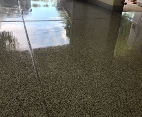 Roll on epoxy and garage flooring on pinterest for Hard floor covering