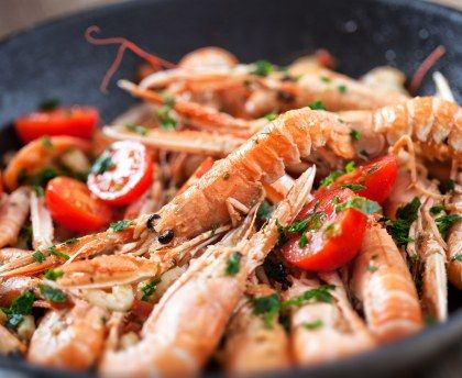 Poêlée de langoustines #poêlée #langoustines #champignons #automne #Marmiton #recette