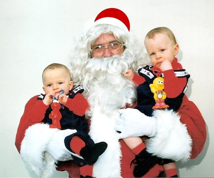My twin boys at their very 1st twins club Christmas party