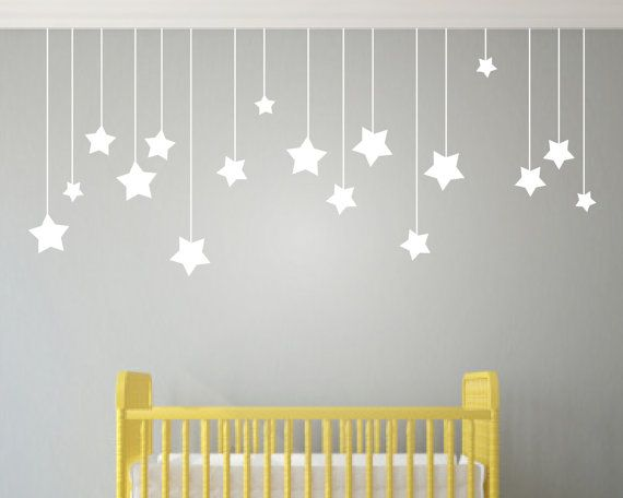 hanging star decals shop also has hanging hearts clouds a moon - Wall Design For Kids