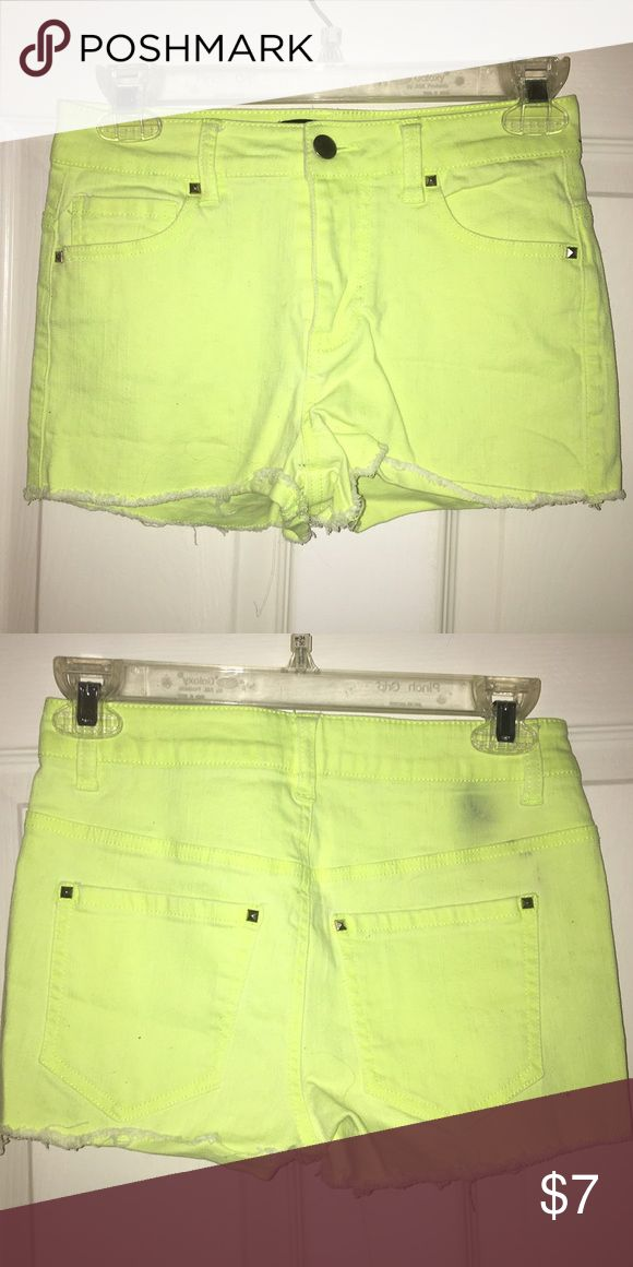 Neon yellow shorts High waisted. Neon yellow. Frayed leg. Stretchy. Small stain on back. Otherwise good condition. Forever 21 Shorts Jean Shorts