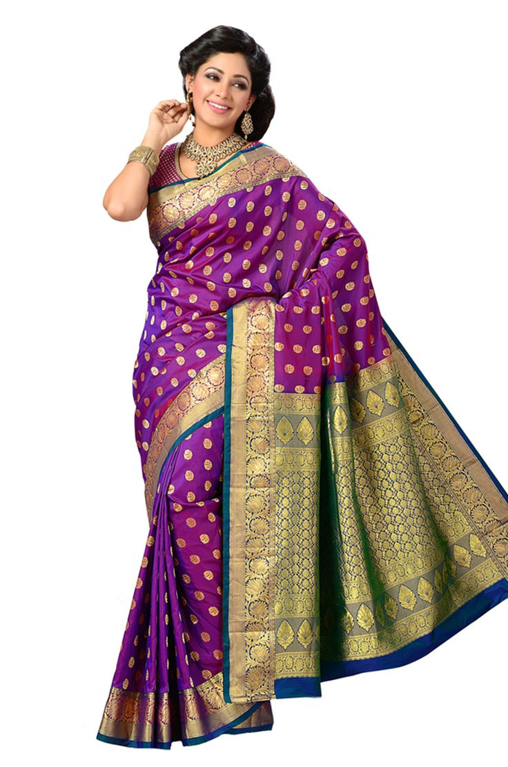 Zari Woven Pure Silk purple saree with blue and gold border is an alluring saree which gives the wearer a lovely appearance and also makes her stand out in a crowd with a gorgeous loo