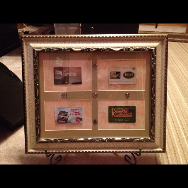 An alternative to a raffle basket. Gift cards in a nice frame!