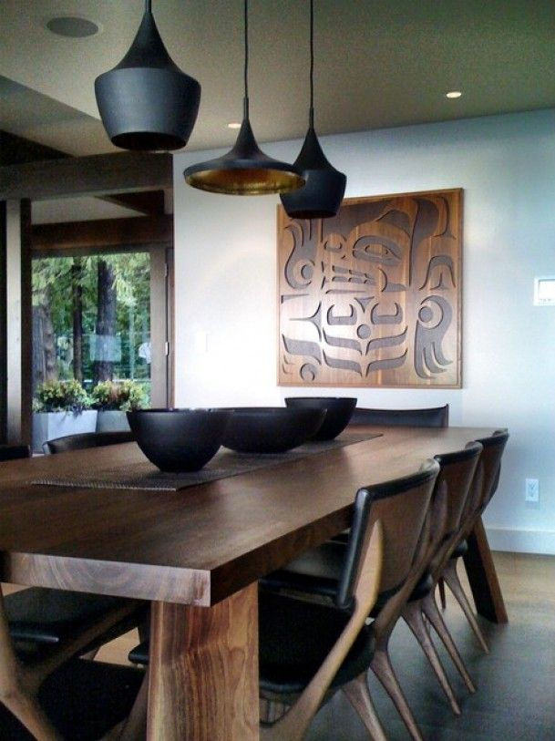West Coast Contemporary Dining Table and Chairs with First Nations Artwork