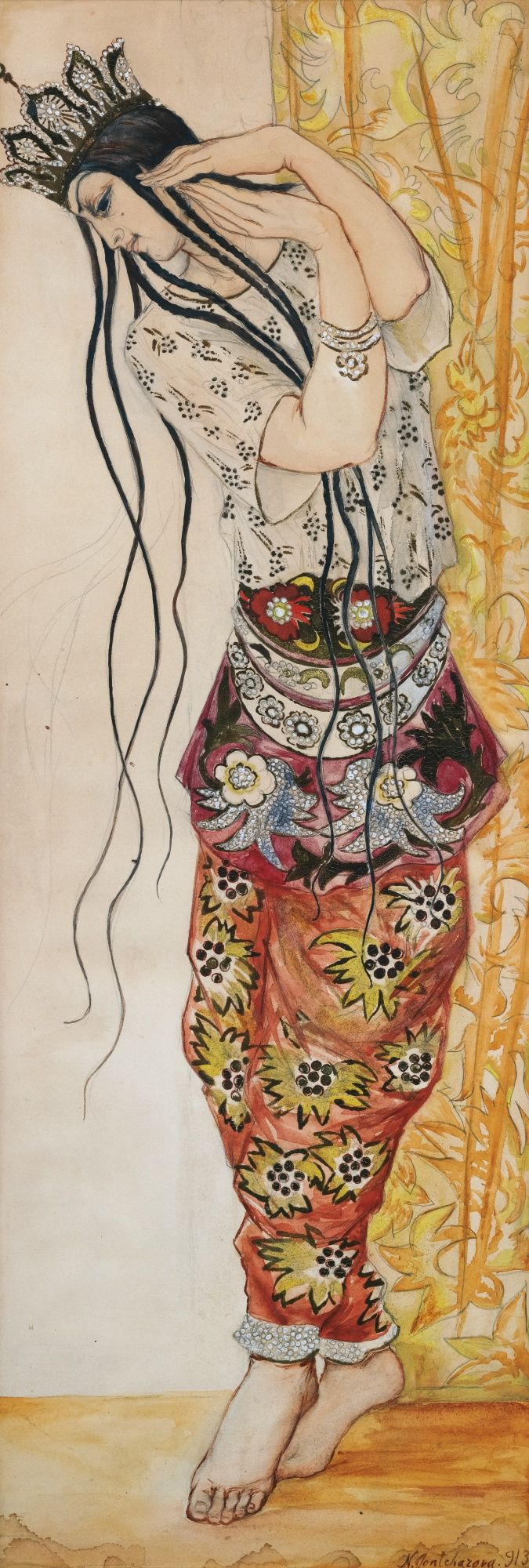 By Natalia Goncharova (1881-1962)  was a Russian avant-garde artist, painter, costume designer, writer, illustrator, and set designer.