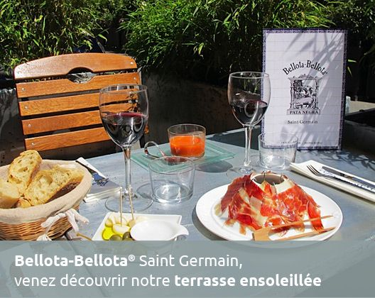 """Bellota-Bellota® Saint Germain, venez découvrir notre terrasse ensoleillée. 18, rue Jean-Nicot, tel: 01 53 59 96 96, (M: Invalides, or La Tour-Maubourg). Says #DavidLebovitz: """"Enjoyable tapas-style bar, more upscale than anything in Spain, with fabulous hams from wild acorn-fed pigs. For dessert, stop down the street at Secco bakery for an almond-scented financier""""."""