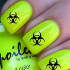 20x Nail WRAPS Nail Art Decals Water Transfers Goth Emo Bio Hazard symbol 204