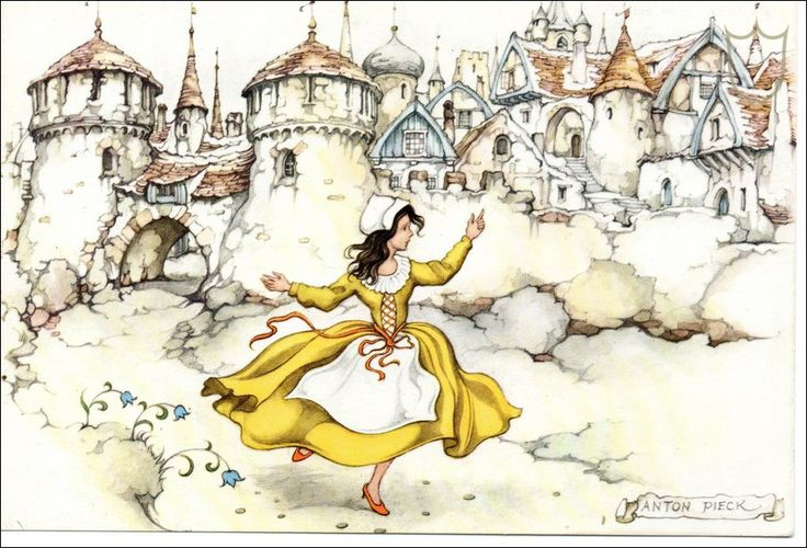 The red shoes. A fairy tale by Hans Christian Andersen. The drawing is by Anton Pieck.