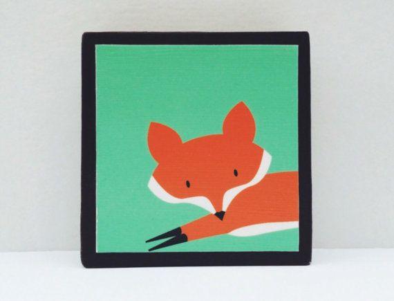 Run Little Red Fox Art Block Turquoise Background  by WoodlingsArt, $15.00