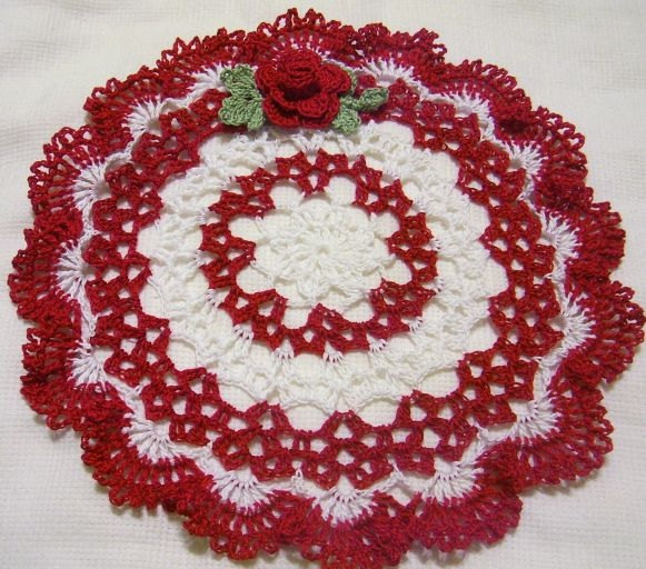 Red and white crocheted doily home decor handmade in USA original design. $15.00, via Etsy.