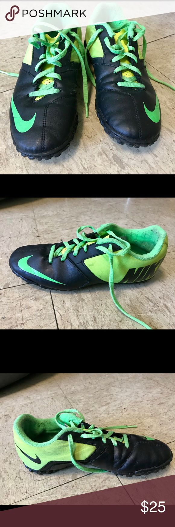 "NIKE indoor/ turf women's soccer shoes Green, yellow, and black  Indoor and turf shoes  Comfortable Staining on the back by the ""Nike"" logo  Heavily worn but still in wearable condition  Open to offers for a lower price due to the staining and heavy use Nike Shoes Athletic Shoes"