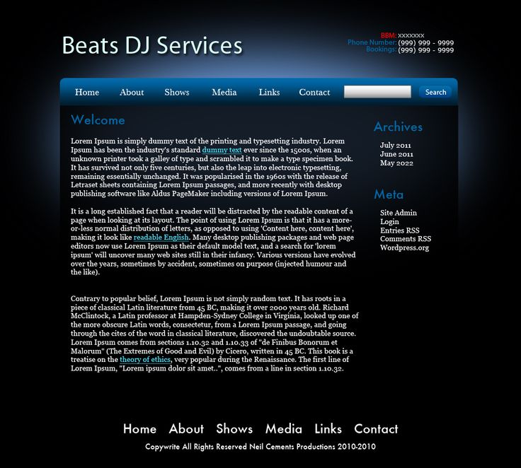 Music page Mock-Up