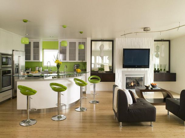 I M Digging The Urban Vibe From This Combination Kitchen Living Room Area Green Fixtures Really Pop Making Feel Like A Sy Cafe