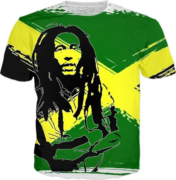 Feeling sunny Rasta, green - jamaica flag, reggae music all-over-print t-shirt design - item printed by RageOn.com, also available at casemiroarts.com