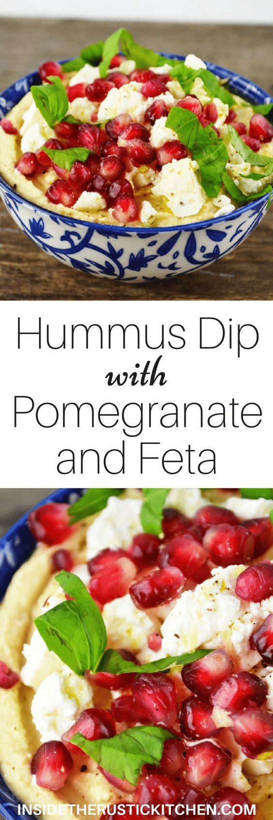This Hummus Dip with Pomegranate and Feta is so delicious that it'll convince you to NEVER buy shop bought hummus ever again! http://www.insidetherustickitchen.com