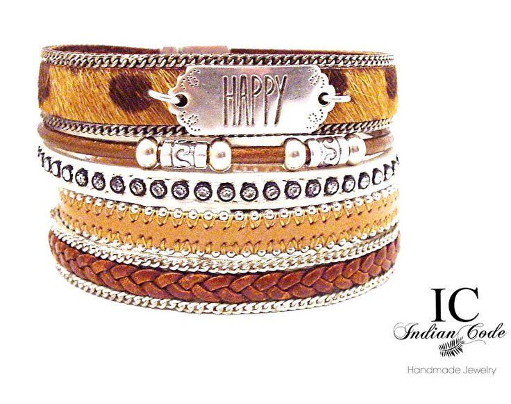 Unieke brede armband Unieke handgemaakte leren armband ontworpen en gemaakt door Indian Code. Meerdere leren bandjes in een grote DQ metaal magneetsluiting duurzame Kleuren: Zilver / Bruin