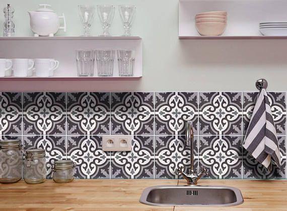 Moroccan Tile Decals Moroccan Stickers Moroccan Azulejos Tiles Decals Grey Moroccan Decals Tile Stickers Azulejos Por Fliesenaufkleber Fliesenfolie Fliesen
